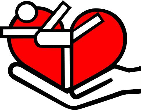 Herzsportverein Hermeskeil e.V. - Logo: Herz mit Sportler wird von flachen Hand gehalten